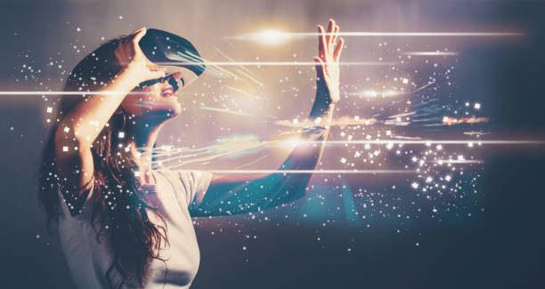digital screen with young woman with vr - futuristic technology imagens e fotografias de stock