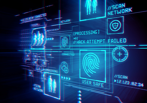 Digital Security and data protection. Conceptual illustration with advanced technology digital display.
