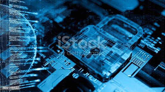 Digital security concept 3d