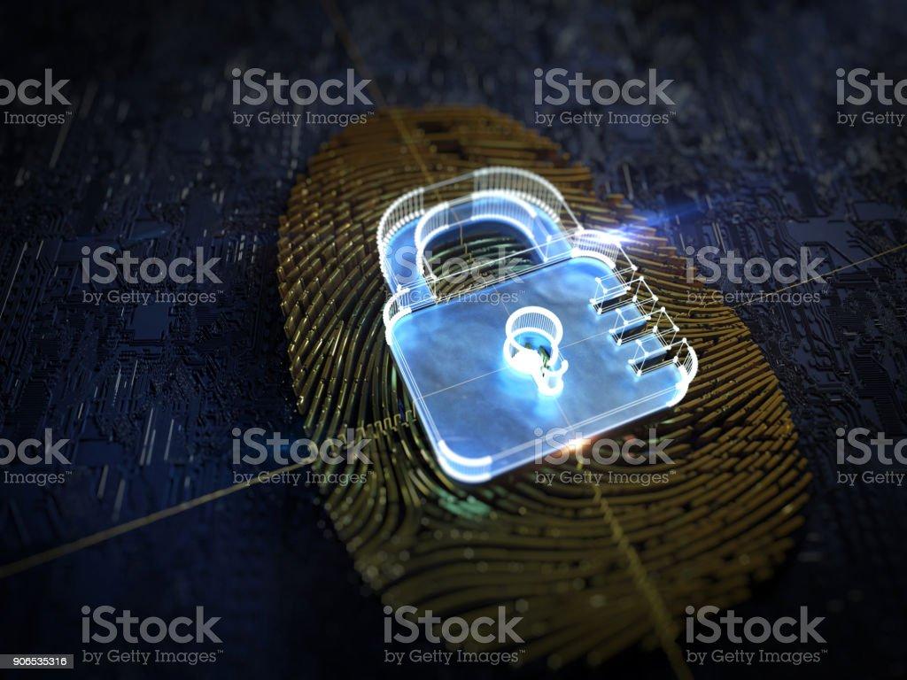 Digital security, fingerprint stock photo