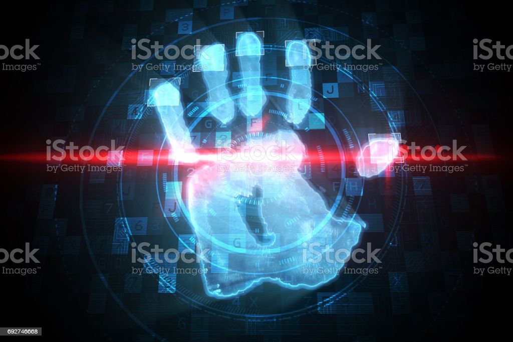 Digital Security Hand Print Scan Stock Photo More Pictures