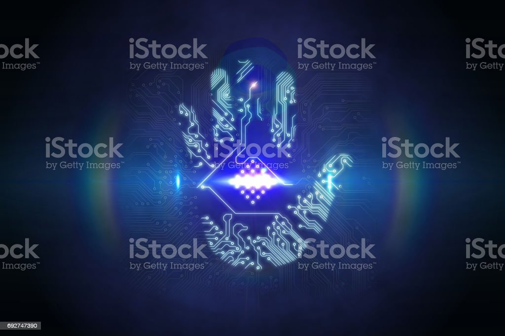 Digital Security Hand Print Scan Stock Photo Download