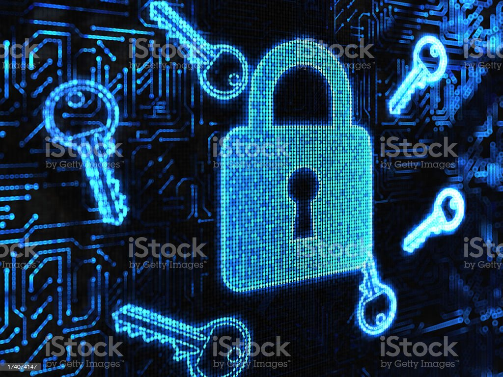 Digital security lock royalty-free stock photo