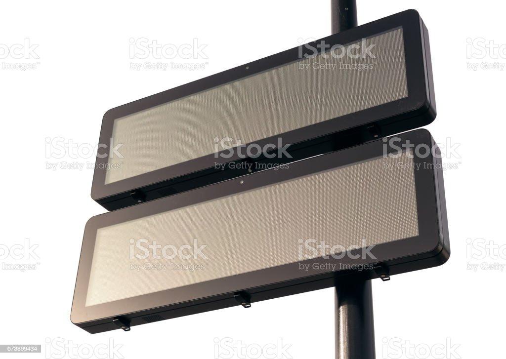 A blank digital road sign.