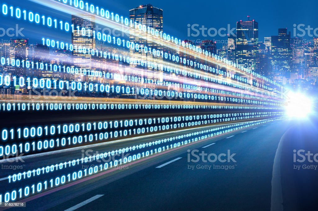 Digital signals flying over highway. Digital transformation. Internet of Things. royalty-free stock photo