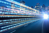 istock Digital signals flying over highway. Digital transformation. Internet of Things. 916376216