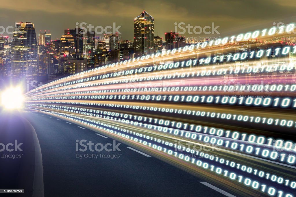 Digital signals flying over highway. Digital transformation. Internet of Things. stock photo