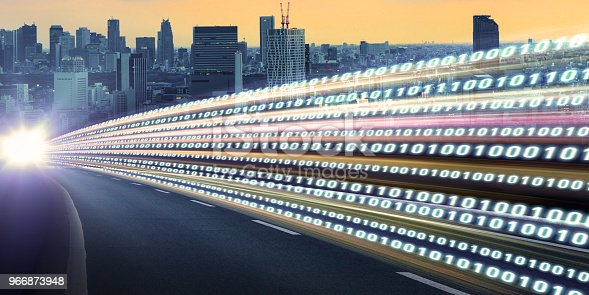 istock Digital signals flying over highway. Digital transformation. Internet of Things. 966873948