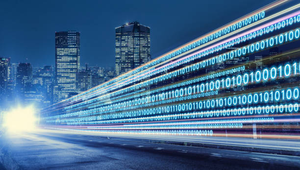digital signals flying over highway. digital transformation. internet of things. - agilidade imagens e fotografias de stock