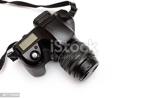 Digital single-lens reflex camera, isolated on white background.