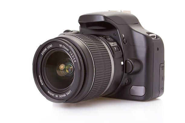 digital slr camera isolated on white - camera photographic equipment stock photos and pictures