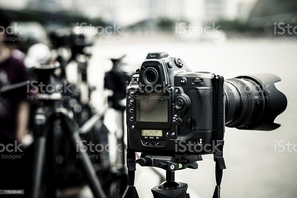 Digital SLR Cameras on Tripods royalty-free stock photo
