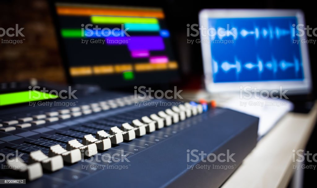 digital sound mixer in recording studio, shallow dept of field. music background stock photo
