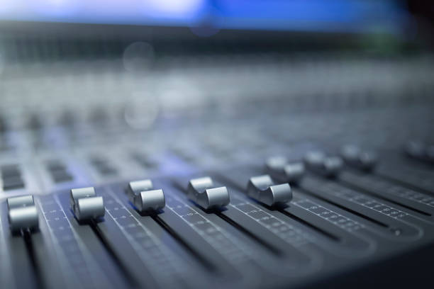 digital sound mixer - radio station stock photos and pictures