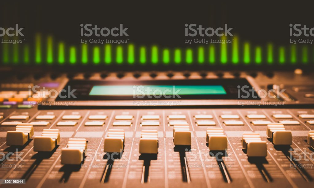 digital sound mixer with volume unit meter stock photo