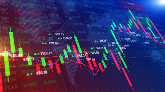 859246828 istock photo Digital stock market or forex trading graph and candlestick chart suitable for financial investment. Financial Investment trends for business background 1223956285