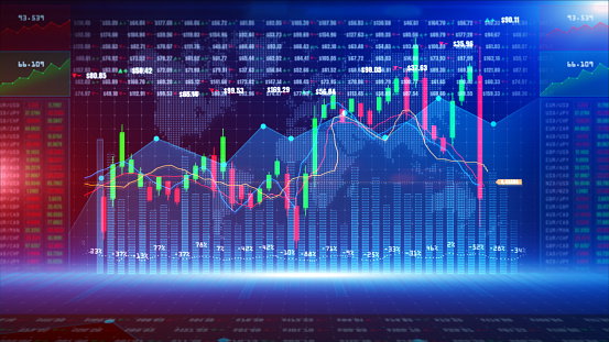 859246828 istock photo Digital stock market or forex trading graph and candlestick chart suitable for financial investment. Financial Investment trends for business background 1223956292