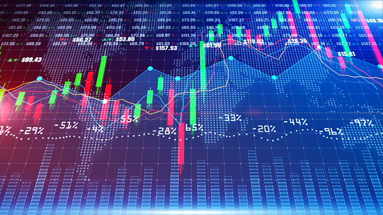 859246828 istock photo Digital stock market or forex trading graph and candlestick chart suitable for financial investment. Financial Investment trends for business background 1223956296