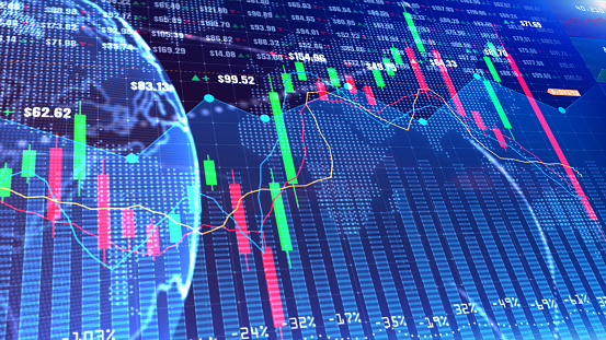 859246828 istock photo Digital stock market or forex trading graph and candlestick chart suitable for financial investment. Financial Investment trends for business background 1223956314
