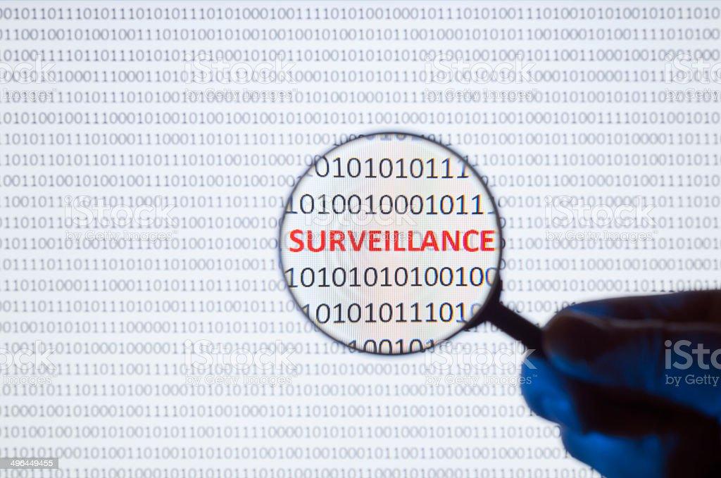 Digital Surveillance on binary code stock photo