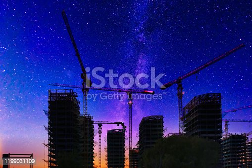 464482634 istock photo Digital Synthesis, Tower Crane and Starry Sky 1199031109