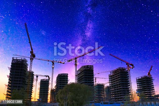 464482634 istock photo Digital Synthesis, Tower Crane and Starry Sky 1199031389