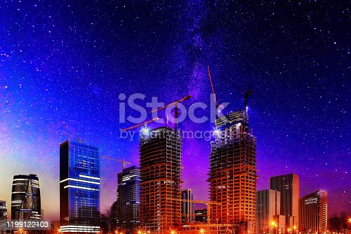 464482634 istock photo Digital Synthesis, Tower Crane and Starry Sky 1199122103