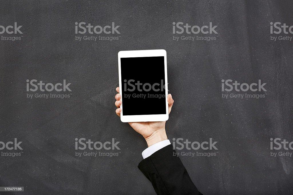 Digitale tablet und blackboard Lizenzfreies stock-foto