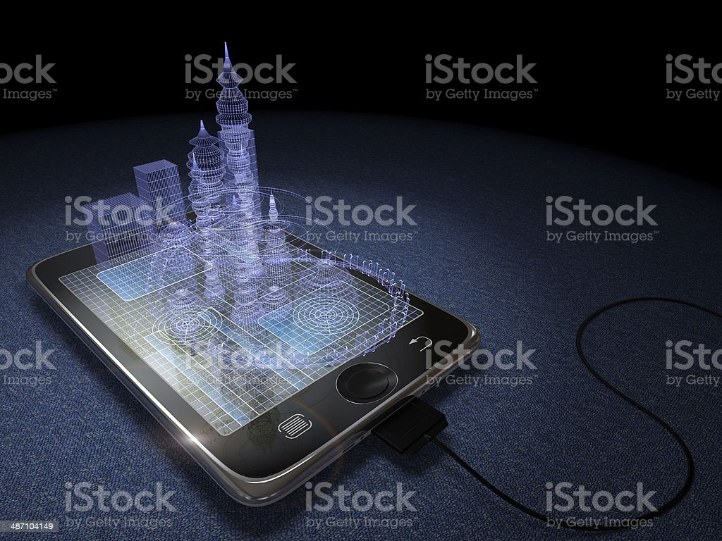 Digital tablet and futuristic town stock photo
