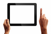 Digital tablet and hands with four clipping paths: 1-Left hand and tablet together 2-Screen 3-Right hand 4-Left hand.