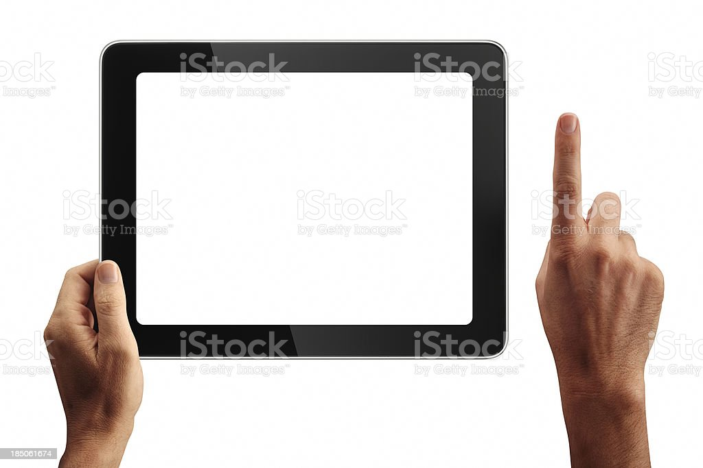 Digital Tablet And Hands With Four Clipping Paths stock photo