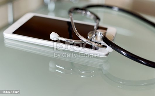 istock Digital tablet and stethoscope 700692602