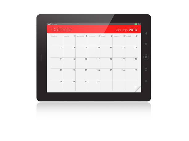 tablette numérique calendrier-janvier 2013 - calendrier digital journée photos et images de collection