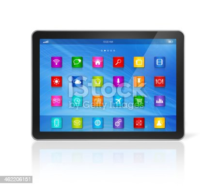 istock Digital Tablet Computer - apps icons interface 462206151