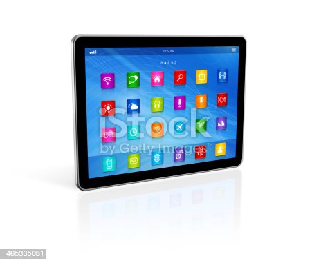 istock Digital Tablet Computer - apps icons interface 465335081