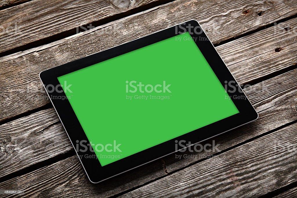 Tableta Digital Sobre Un Escritorio De Madera Antigua - Stock Foto e ...