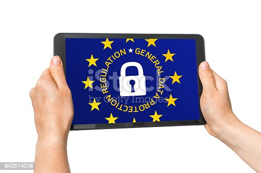 937370192 istock photo Digital tablet in female hands with GDPR screen isolated on white 942514016