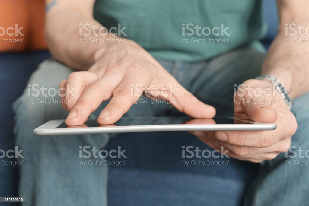 Digital tablet in hands royalty-free stock photo