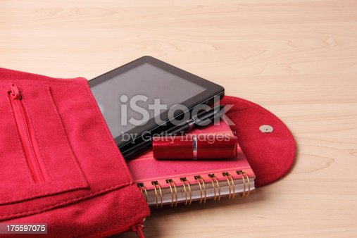 175597083 istock photo Digital Tablet in  Woman's Bag Backpack 175597075