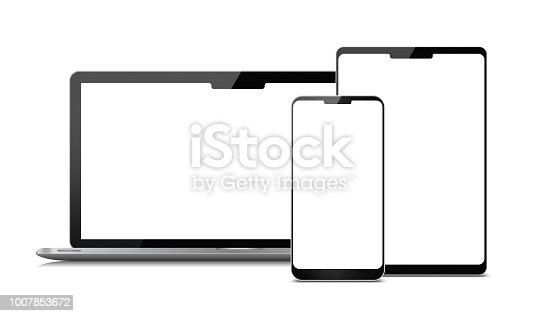 Digital Tablet ,laptop and smart phone isolated on white background