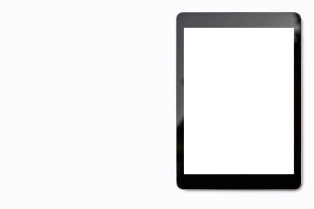 digital tablet mock up on white background with copy space and clipping path on blank screen easy replace you design . - fundo branco imagens e fotografias de stock