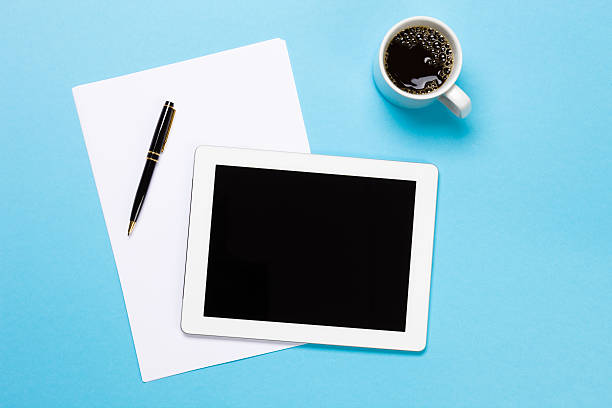 Digital Tablet On Desk stock photo