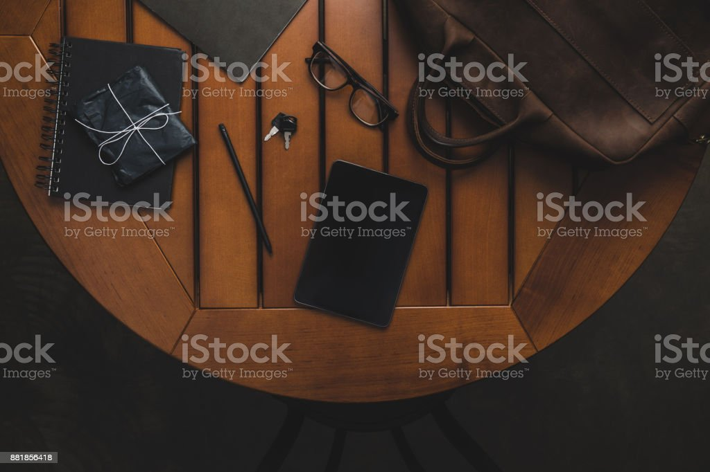 digital tablet on table stock photo