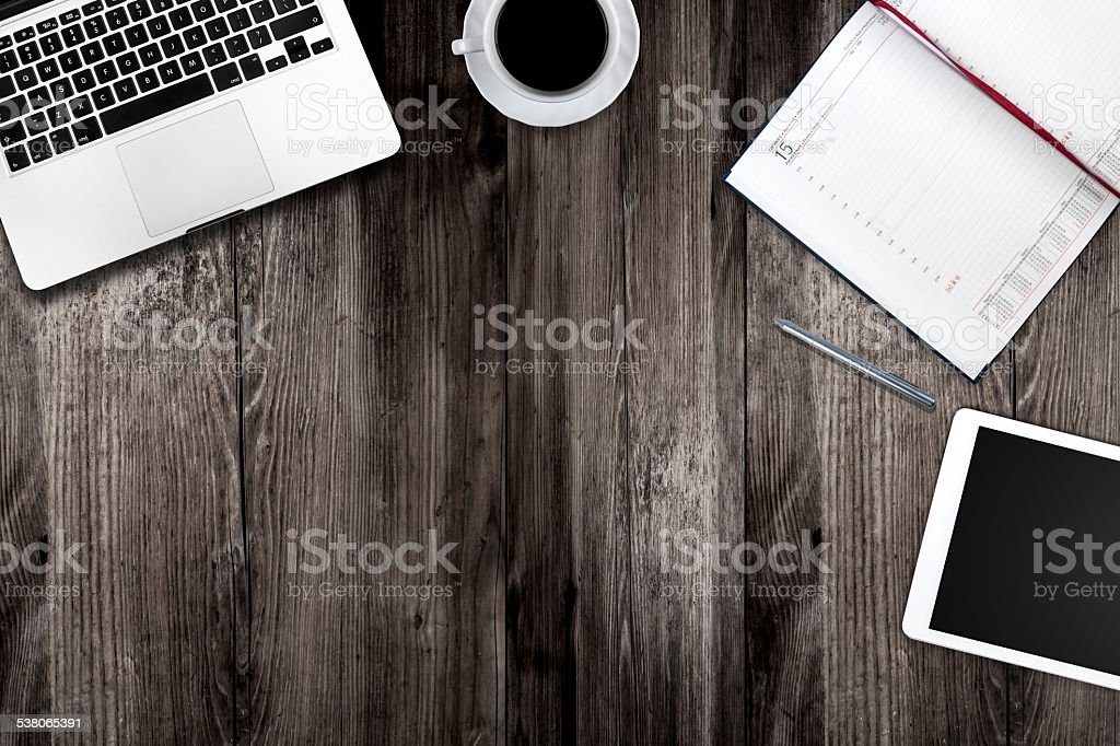 digital tablet pc, computer and cup of coffee stock photo