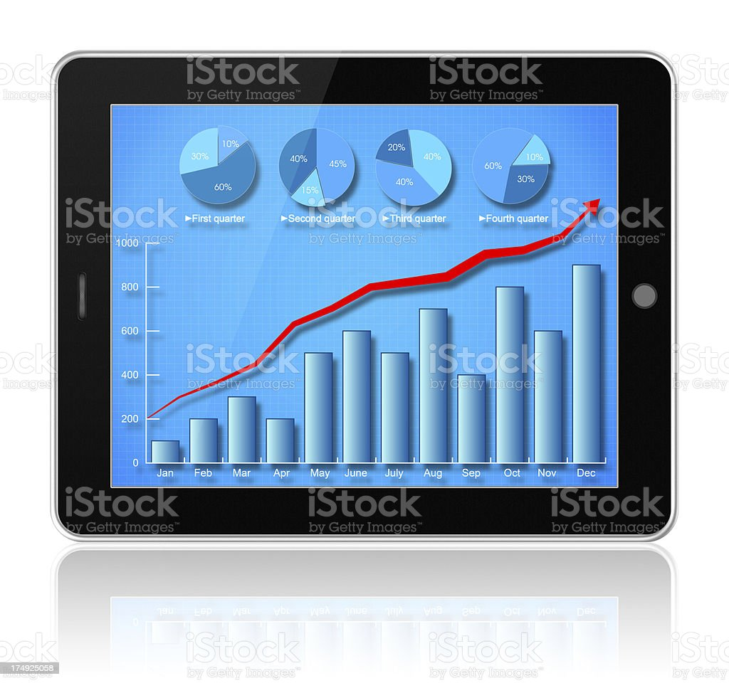 Digital Tablet PC (Clipping path!) with data chart isolated royalty-free stock photo