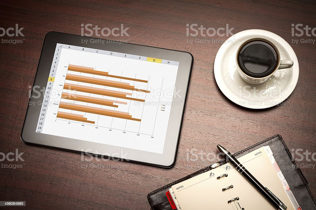 digital tablet showing charts and diagram royalty-free stock photo