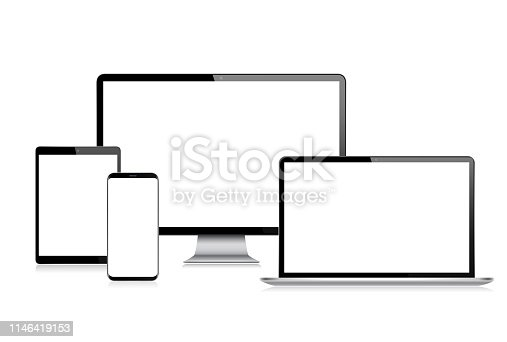 Digital Tablet, Smartphone, Mobile Phone, Computer monitor and Laptop with Blank Screen.Modern Digital Devices Template. Copy Space