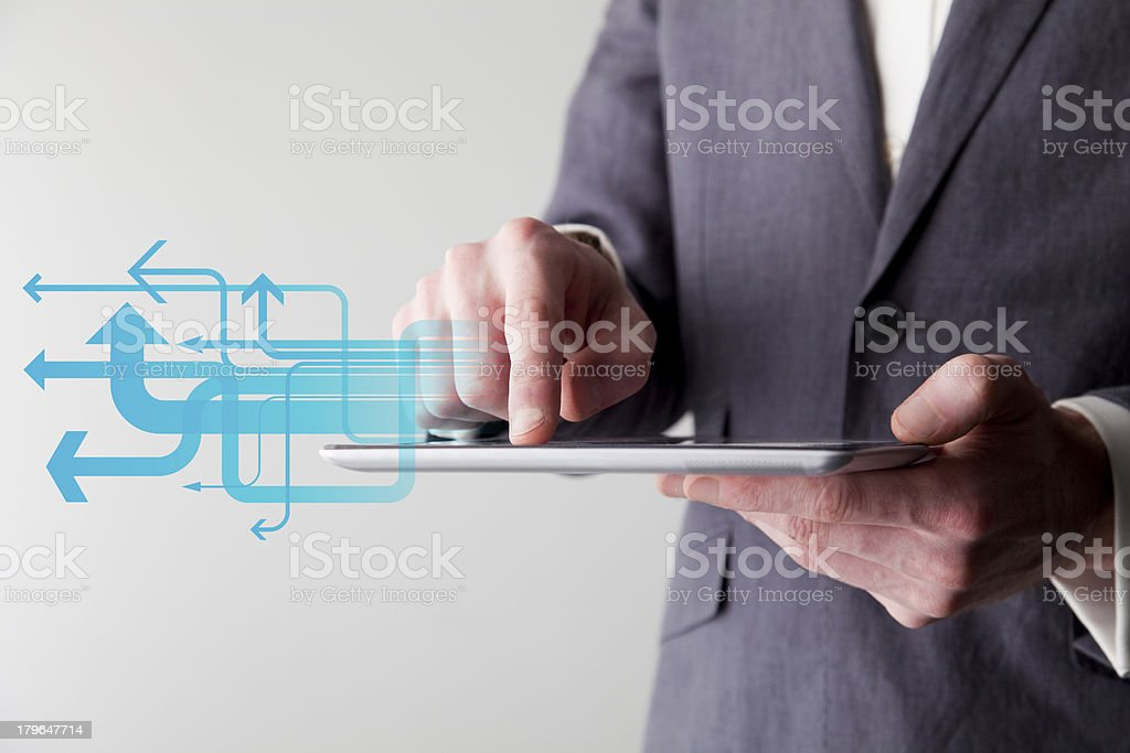Digital tablet with arrows royalty-free stock photo