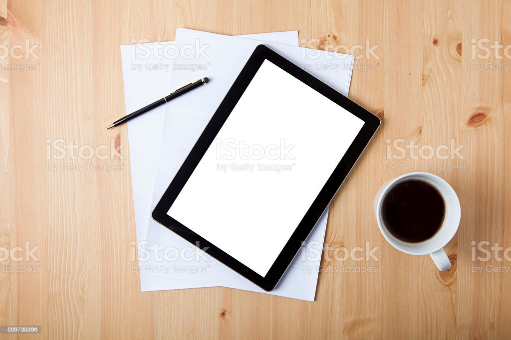 Digital Tablet with blank white screen stock photo