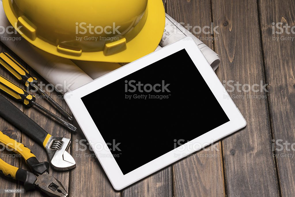 digital tablet with blue print stock photo